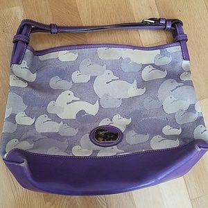 Dooney & Bourke purple duck print satchel